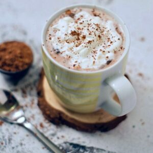 Recipe for creamy, chocolaty, and sweet keto hot chocolate.