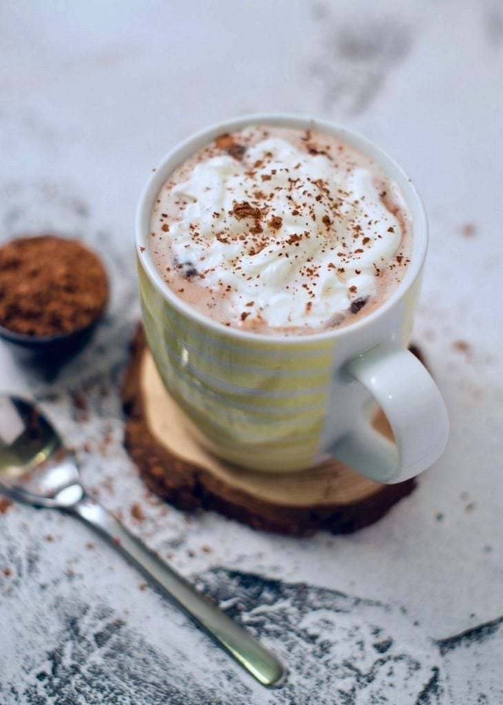 Recipe for creamy, chocolaty, and sweet keto hot chocolate.