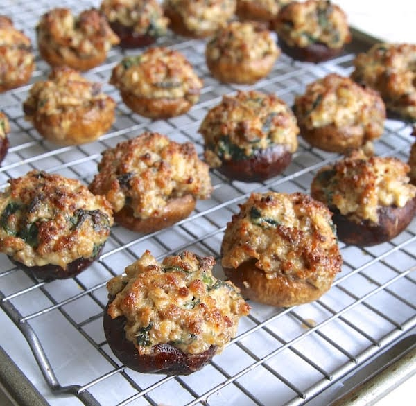 Appetizer recipe for low-carb sausage stuffed mushrooms.