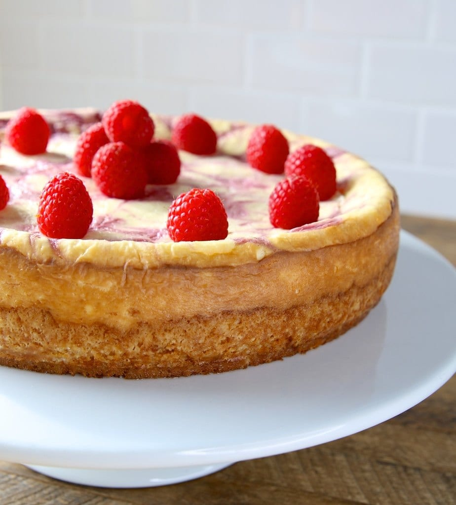 Raspberry Swirl Keto Cheesecake
