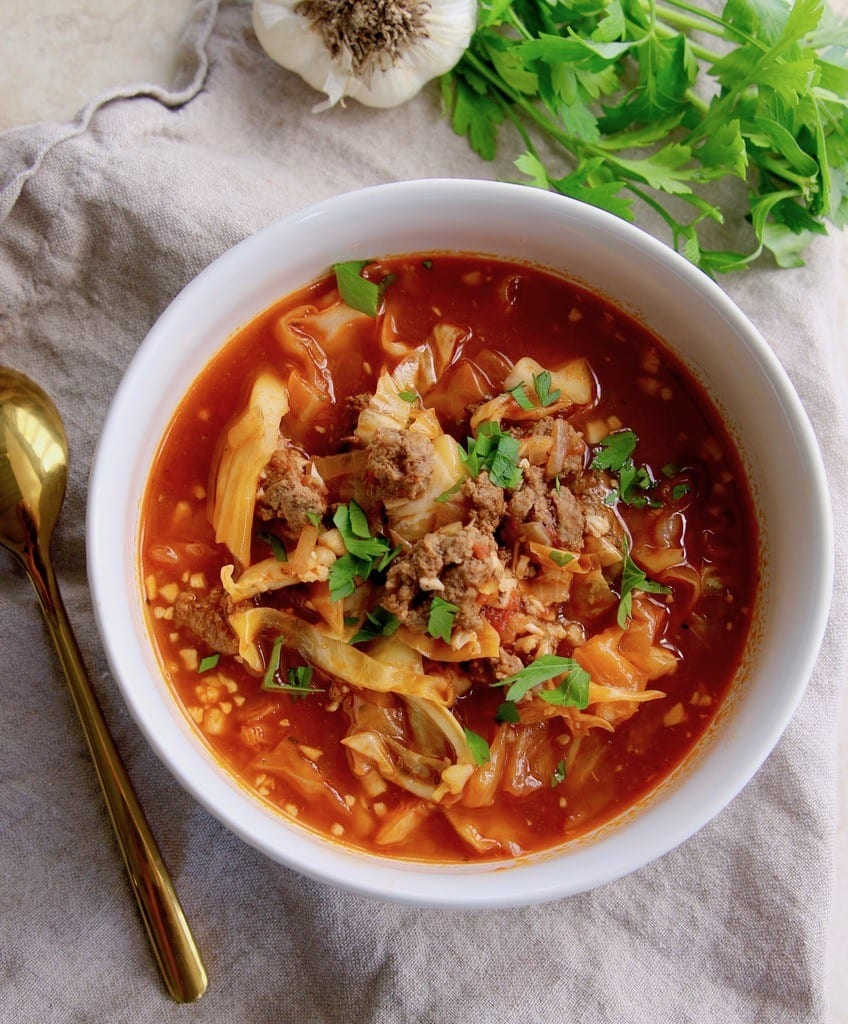 Keto recipe for keto friendly cabbage roll soup.