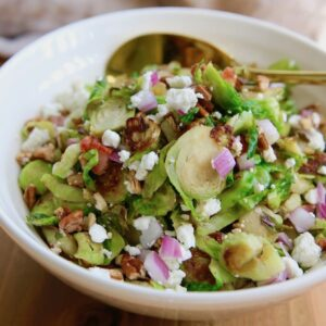 Brussels Sprouts recipe with Pancetta, Goat Cheese, and Pecans.