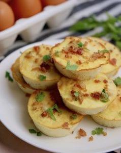 Recipe for keto friendly Bacon Gruyere egg bites.