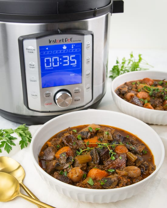 Recipe for low carb beef stew in less than an hour using your Instant Pot!