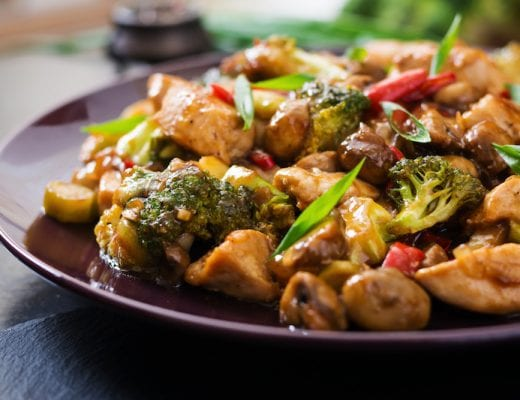 This flavorful keto chicken stir fry recipe is packed full of crisp, tender veggies.
