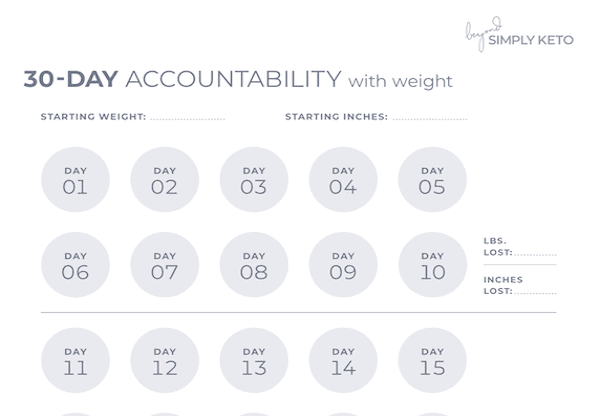 30 day accountability with weight tracking