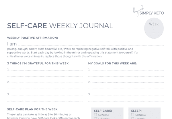 Self-care weekly journal