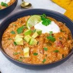 A delicious and hearty low carb and keto friendly taco soup recipe that is sure to be a family favorite!