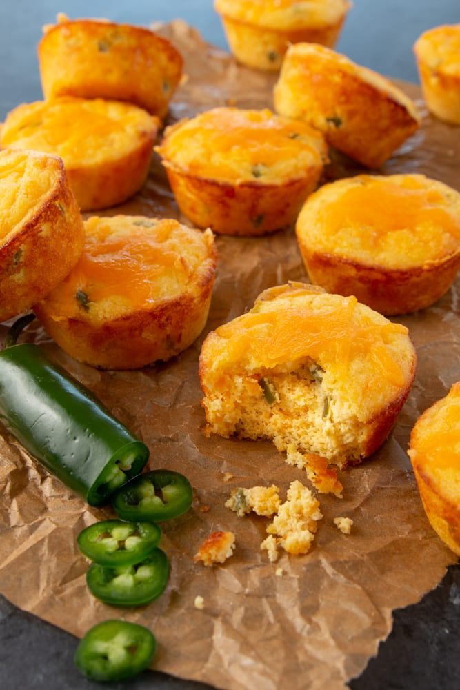 Recipe that makes spicy, cheesy, and flavorful keto cornbread muffins.