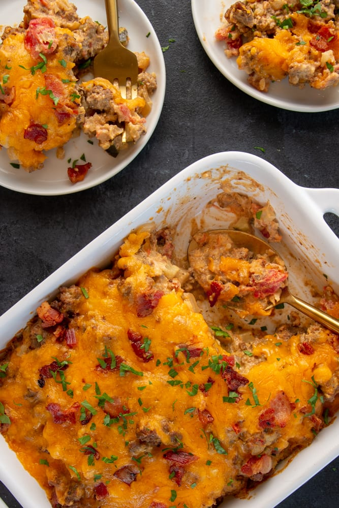 This keto cheeseburger casserole recipe is packed full of your favorite cheeseburger toppings in one dish!