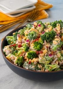 A simple recipe for a colorful and flavorful keto broccoli salad.