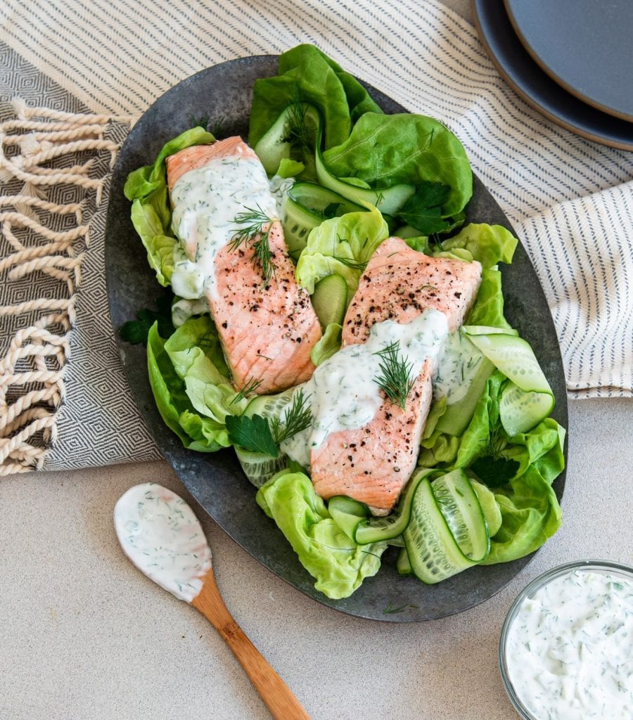 This Poached Salmon with Cucumber Dill Sauce recipe is sure to become a regular with your family.