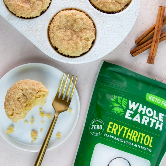 "This keto churro muffins recipes makes muffins soft on the inside while the Whole Earth Sweetener and a sprinkle of cinnamon creates a baked on crunchy ""crust"" on top."