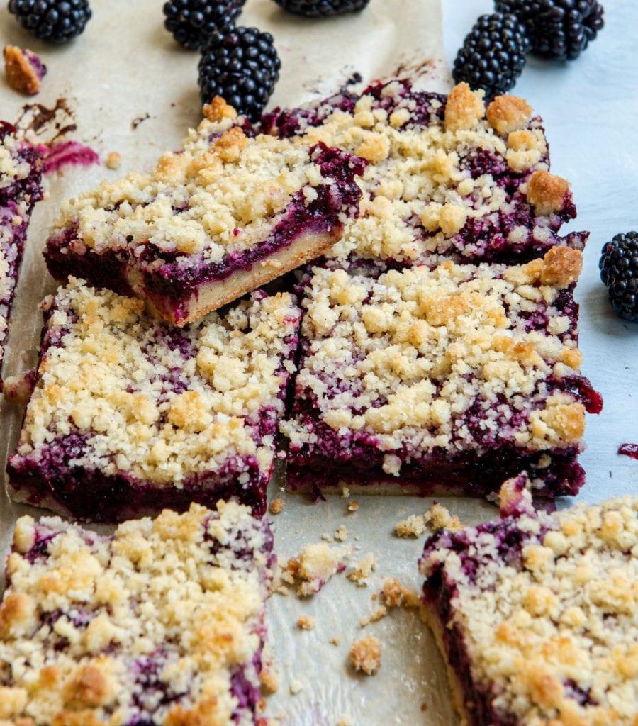 Recipe for keto friendly blackberry bars.