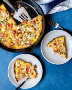 Recipe for keto-friendly breakfast pizza.