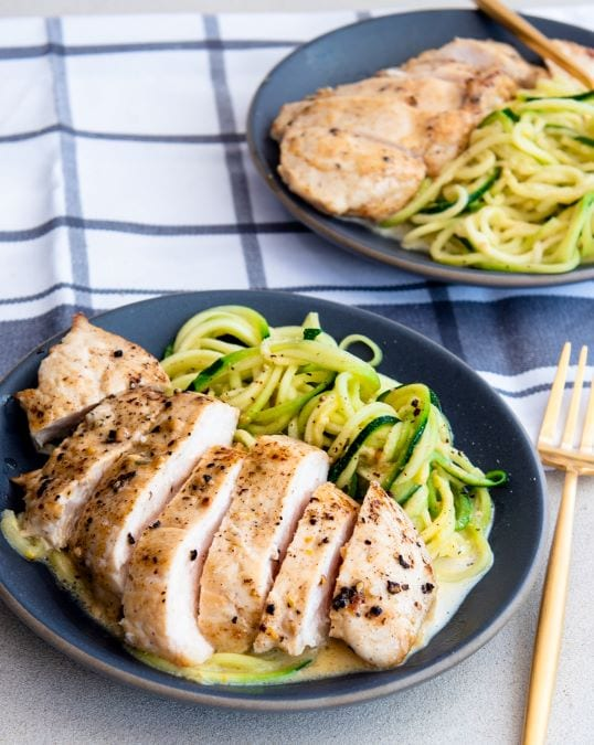 Simple recipe for Chicken in Lemon Cream Sauce with Zoodles that has only 7 ingredients!