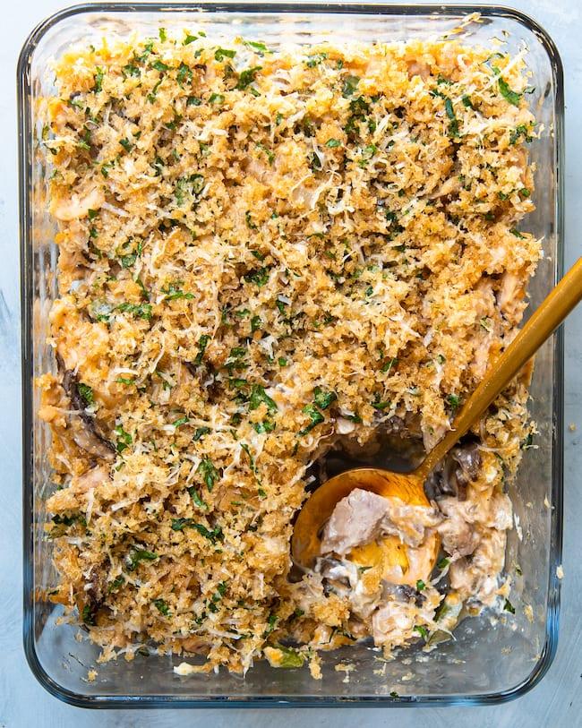 picture of keto tuna casserole in a baking dish