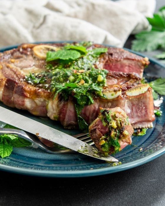 Easy recipe for lamb with mint chimichurri.