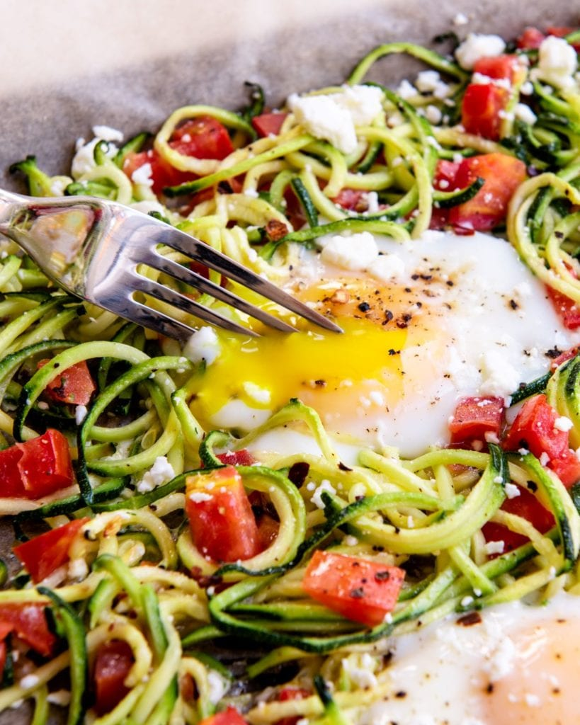 Quick and simple vegetarian recipe for Eggs in A Nest of veggies.