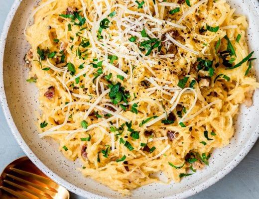 Recipe for vegetarian spaghetti squash carbonara.