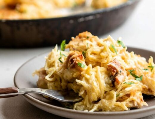 Recipe for chicken alfredo spaghetti squash bake.