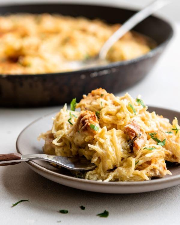 Recipe for chicken alfredo spaghetti squash bake.