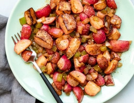 A recipe for home fries made with radishes instead of potatoes.