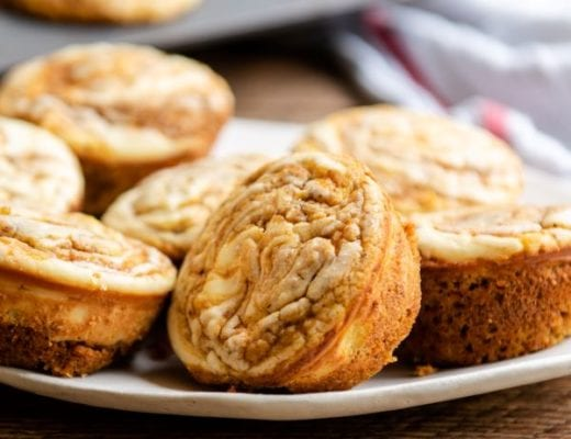 Simple recipe for pumpkin cream cheese muffins.