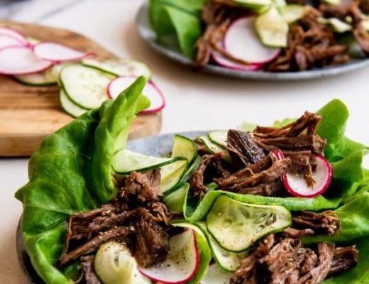 Simple recipe for shredded beef lettuce wraps.