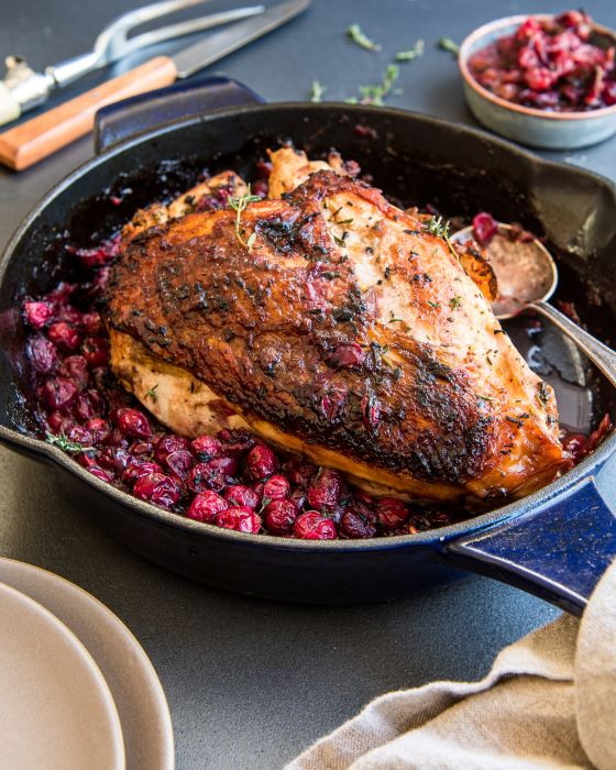 Recipe for one skillet turkey and cranberry sauce.