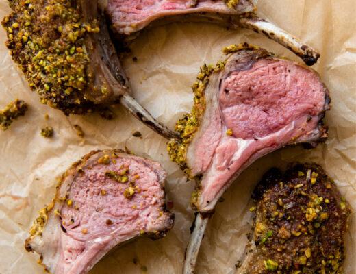 Simple recipe for pistachio crusted rack of lamb.