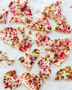 Recipe for white chocolate raspberry bark