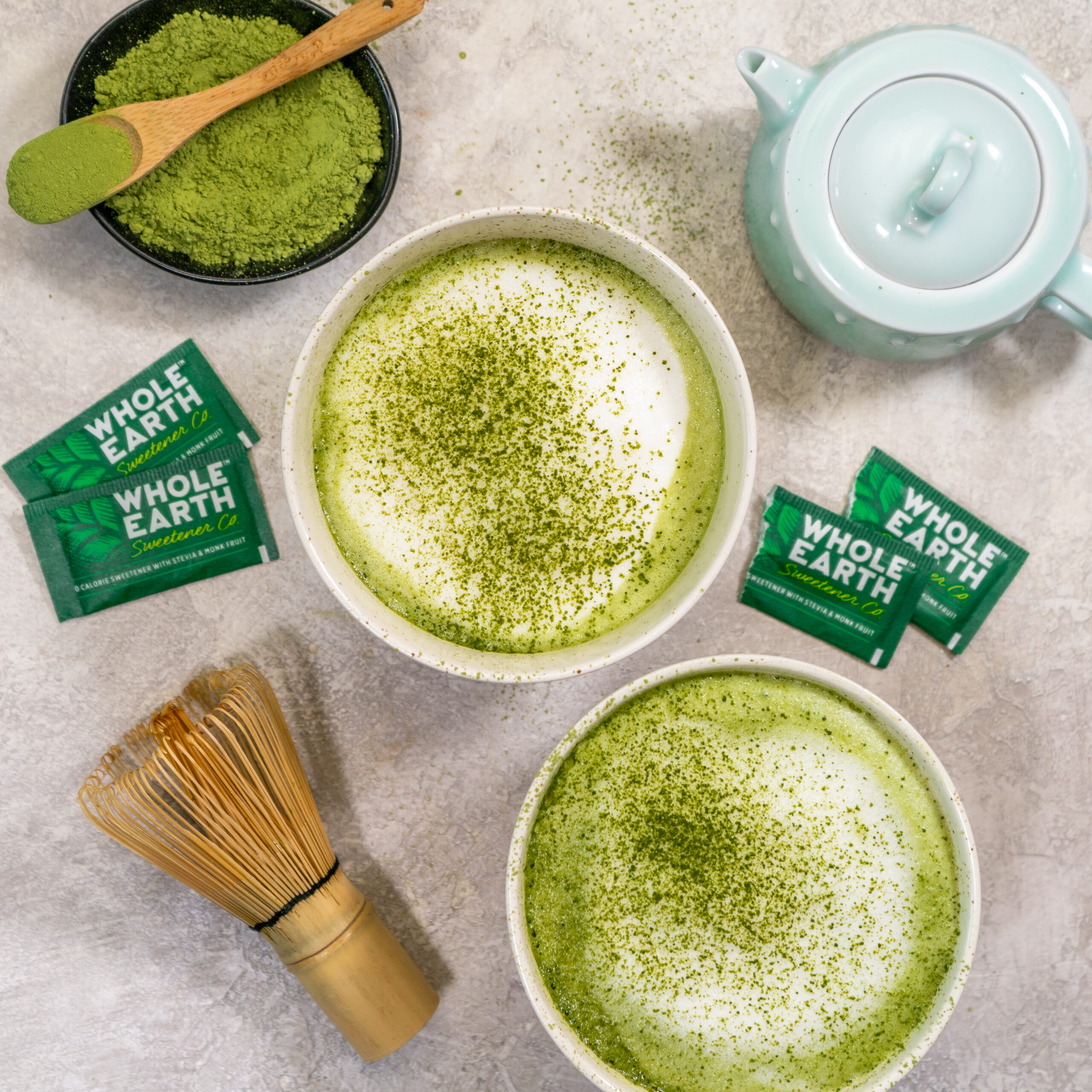 two cups of keto matcha latte