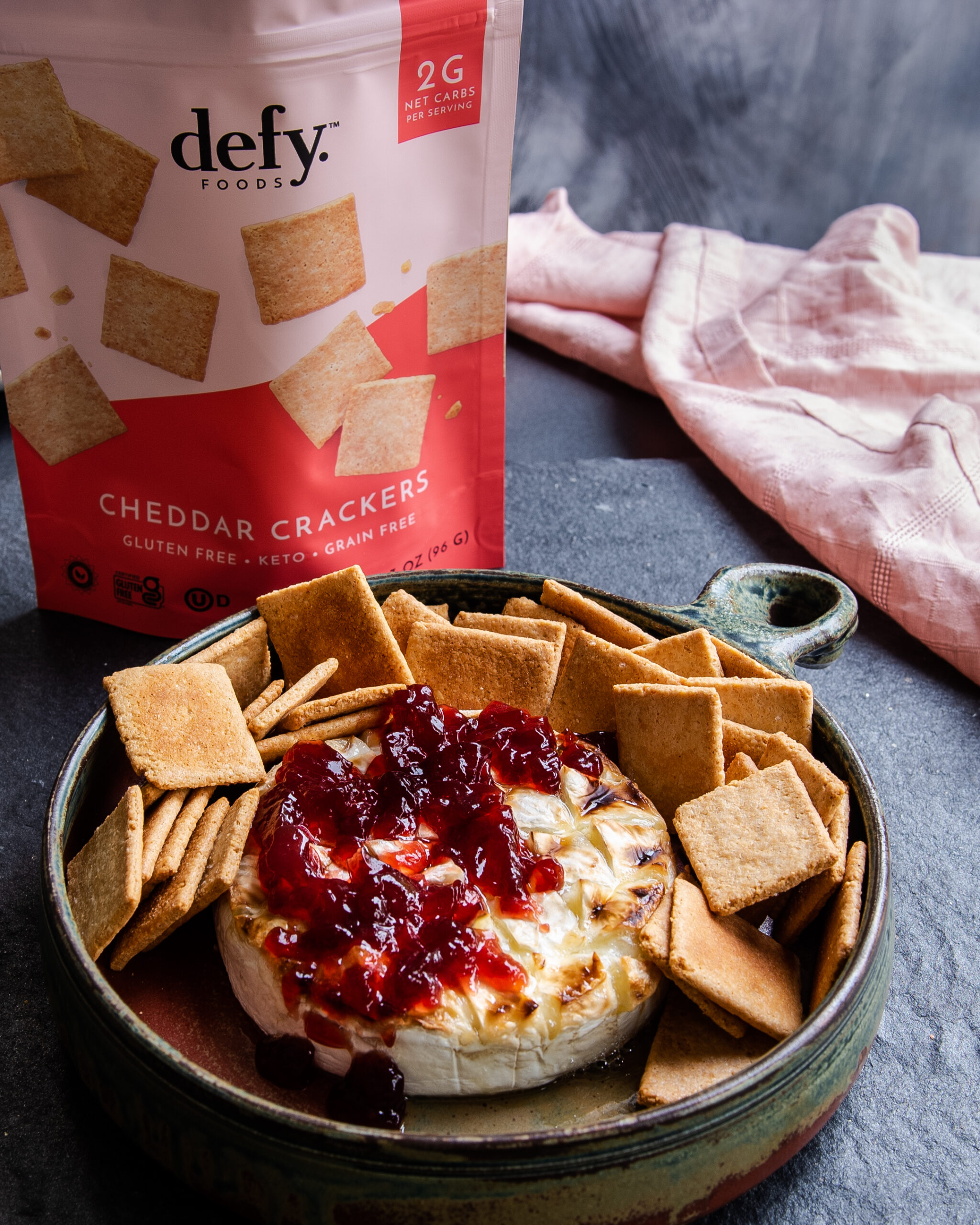keto baked brie and defy crackers