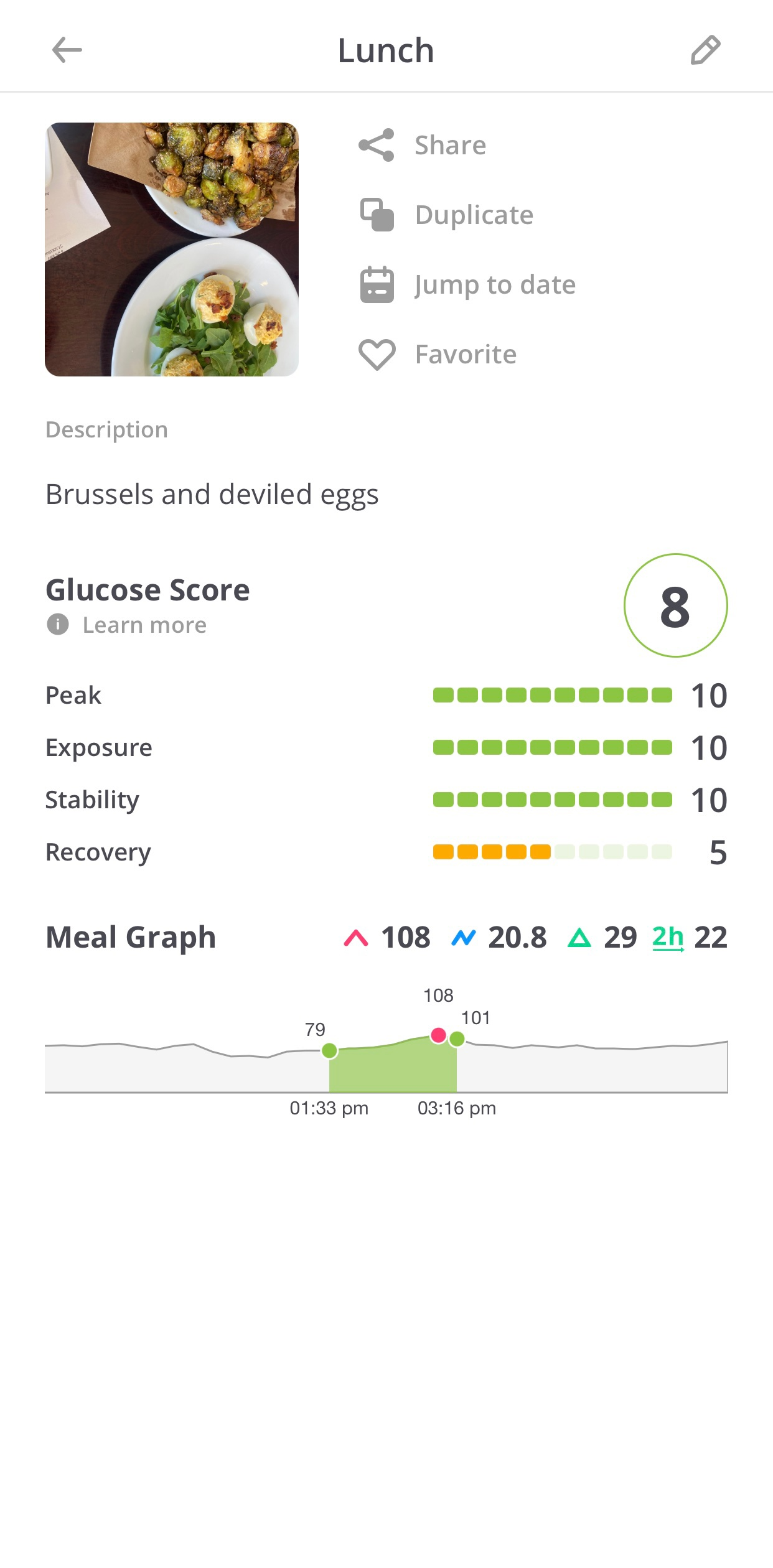 example of lunch logging in nutrisense app